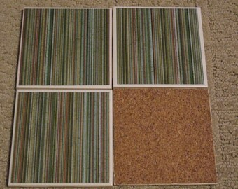 Set of 4-Tile Coasters Stripe