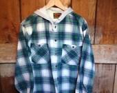 Vintage 90's Hooded Shirt Jacket, Mens L