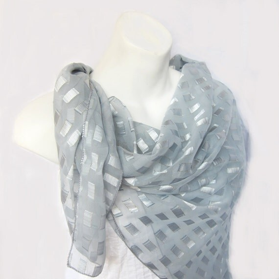 Lovely Geometric Pastel Gray Silk Chiffon Scarf ..41 x 43 Square..Elegant, Bohemian Scarf..Christmas in July