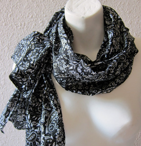 Paisley Black Cotton Scarf ..Seven Berry Cotton Fabric ..Scarf for Woman and for Men