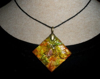Handcrafted Painted Earthy Pendant - Mosaic Ink Design and Rose  - Large Wooden Lightweight Diamond Pendant - Adjustable Natural Hemp Cord