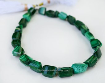 Bright Green Malachite Faceted Nuggets 9 x 7mm to 11 x 7mm- 1/2 STRAND