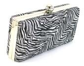 Clutch Purse Black and Silver Clamshell Zebra Print Modern Evening Bag by  Bag Boy