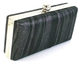 Black Evening Bag - Box Clutch Handbag - Clamshell Purse - Minaudière