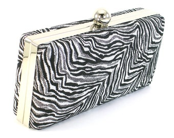 Clutch Purse Black and Silver Clamshell Zebra Print Modern Evening Bag by  Bag Boy