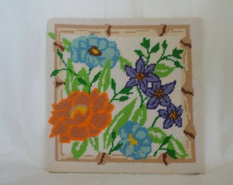 Vintage Needlepoint - Floral Colorful 70's