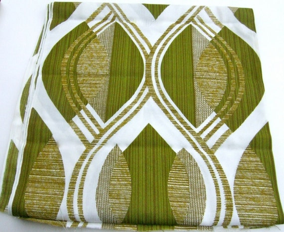 Avocado Green 1970 Drapery Fabric 2 1/2 yds.