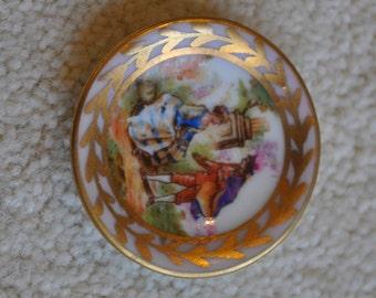 Vintage Limoges miniature porcelain plate - Hand painted - Lovers in the garden - Souvenir - France