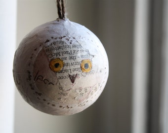 Owl hand painted bauble