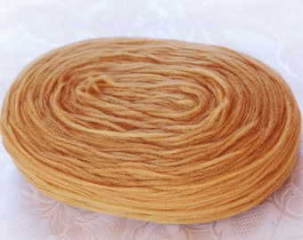 Thin Wool Pencil Roving/Pre-Yarn, Spinning, Felting or Knitting Fiber, Honey Beige.