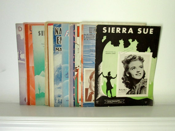 Bundle of Sheet Music from 1920s, 1930s & 1940s - lot of 23