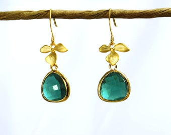 Tinyflower earrings. gold and emerald green earrings with framed forest green crystal drop weddings bridal prom graduation