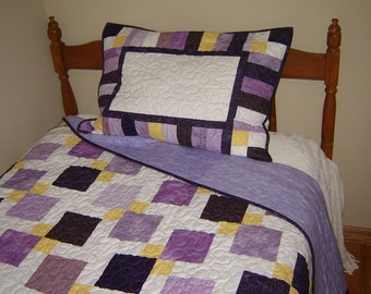 Twin Patchwork Quilted Bedding, Custom Twin Quilt, Made to Order Twin bedding,