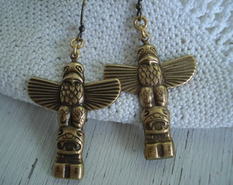 Antiqued Gold Totem Pole Poles Dangles Drops Earrings Native Inspired