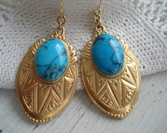Vintage Inspired Art Deco Gold Turquoise and Gold Dangles Drops Earrings