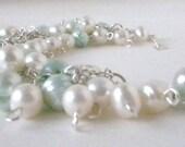 Elegant, Freshwater Pearl Bracelet in Mint and White