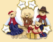 Belly Bear Cowboy Family of 4 with Horse HANDMADE POLYMER CLAY Personalized Western Ornament
