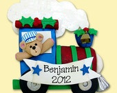 Santa's Train with Bear Handmade Polymer Clay Personalized Christmas Ornament