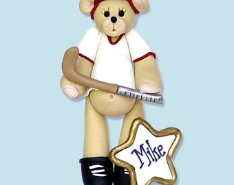 Belly Bear Hockey Player HANDMADE POLYMER CLAY Personalized Christmas Ornament