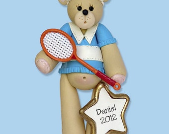 Belly Bear TENNIS PLAYER Handmade Polymer Clay Personalized Christmas Ornament