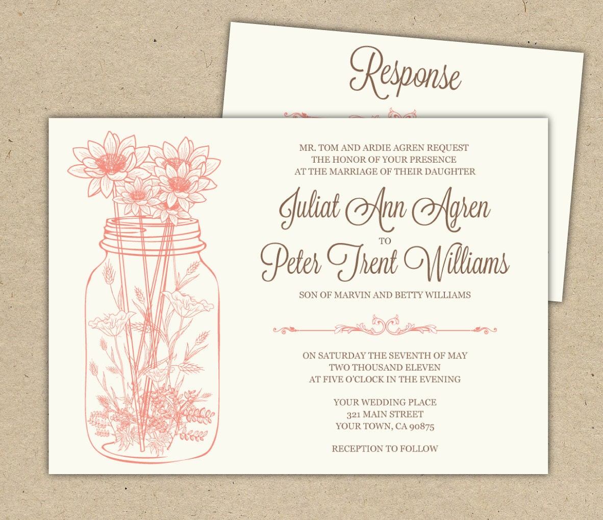 Outdoor Wedding Invitation Wording: Mason Jar Wedding Invitations And RSVP Outdoor By WestandPine