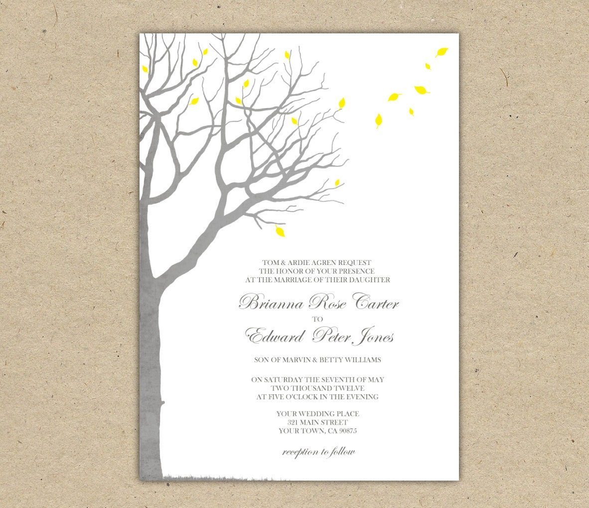 Wedding invitation template oak tree yellow and by for Free printable tree wedding invitations