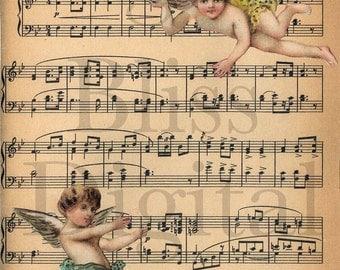 Digital Collage Sheet Bridal Cherub Music Large