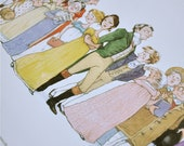 Jane Austen, Pride and Prejudice literary illustration print: 'The Cast of Pride and Prejudice'