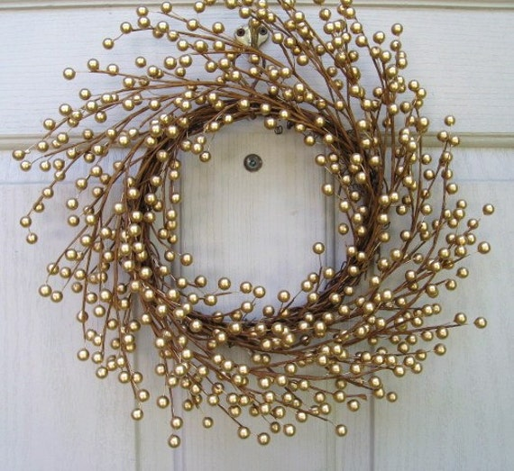 Gold Berry Wreath, Wedding Decoration, Holiday Wreath, Gold Wreath for Front Door Decor