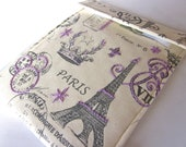 iPad cover Clearance sale price - hand embroidered gadget tablet case - Eiffel Tower Purple Paris France gift ready to ship