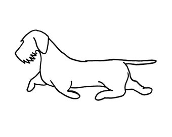 "Wirehaired Dachshund wall art 22"" wide silhouette dog - rust patina - metal steel rust"