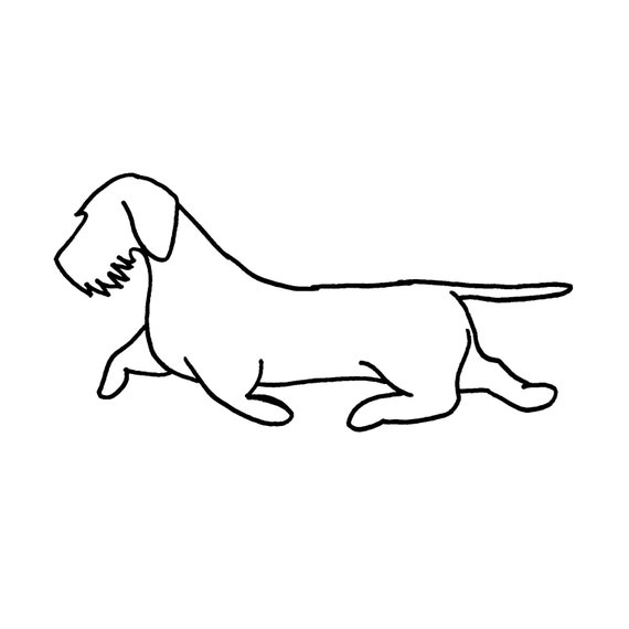 """Wirehaired Dachshund wall art 22"""" wide silhouette dog - rust patina - metal steel rust"""