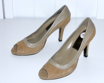 Brown Suede High Heels Open Toe Women's Shoes Pumps Size 6.5M  Bandolino NOS