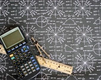 Trig and Triangles (Dark) Cotton Math Fabric Fat Quarter