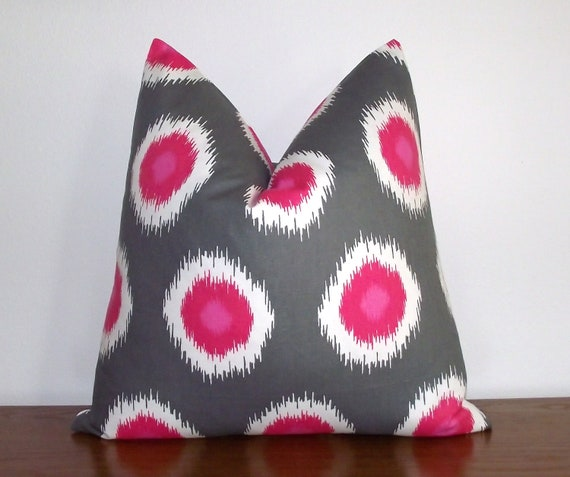 """Ikat Decorative Pillow Cover 20x20"""" - Pink- White- Charcoal-"""