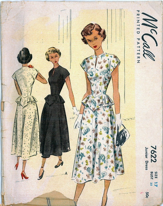 Vintage FACTORY FOLDED 1940s Swing Dress with Jewel Neckline and Peplum Skirt Sewing Pattern McCall 7622 Bust 35