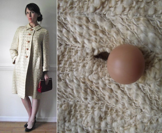 Swing Coat /  1940s Jacket  / Buff Weave Vintage