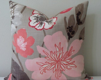 """SET Of TWO 18"""" x 18"""" Gorgeous Blossom Decorative Pillow Covers - Pink,Coral, Beige,Grey,Brown and Ivory with Beige LINEN Backs"""