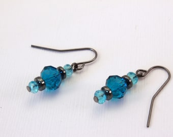 Small Teal and Hematite Earrings