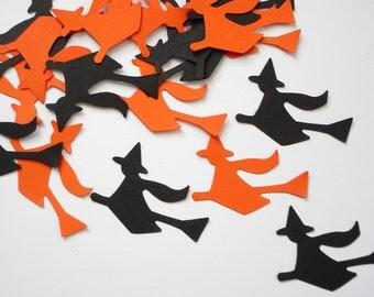 50 Halloween Black Orange Witch die cut punch confetti cutouts scrapbooking embellishments - No576