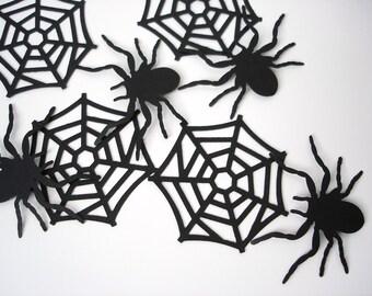 10 Halloween Black Spiderweb and Spider die cut punch scrapbook embellishments - No610