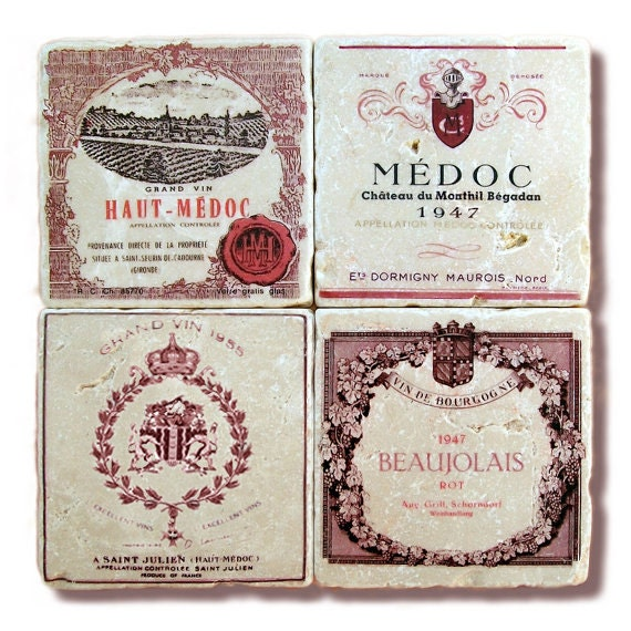 Stone Coasters, Red Pink French Wine Label Coasters