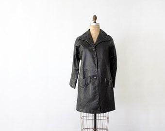 1970s black leather jacket,  women's three quarter coat