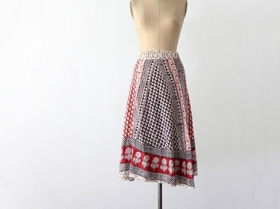 1970s Wrap Skirt / Vintage India Cotton Skirt
