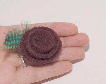 Felt Brooch Pin - Dark Burgundy - Green Quail Feather - Eco Friendly Accessory