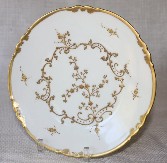 French Porcelain Limoges White and Gold Plates