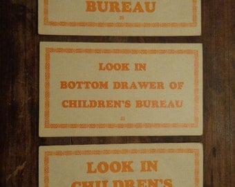 Clue for Gifts from SANTA  Pick 1 LG  Letterpress 1950s Graphic Word Sentence card Orange & Cream ephemera art supply  Ideas CHECK available