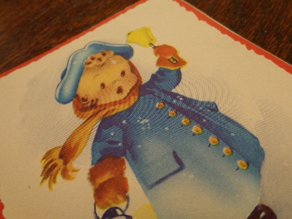 It's Christmastime Again,  says the Town Crier 1950s Christmas Card, sweet cherub face, Beautiful Cond, More in SeaSeaRider