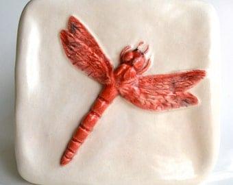 Dragonfly Ceramic Hand-Sculpted Tile