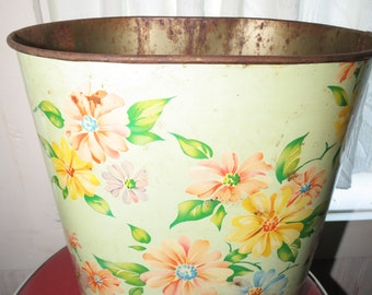 Vintage Metal Trash Can.